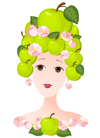 hairdress: The woman with a hairdress from apples. illustration.