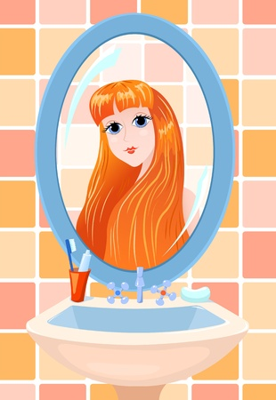 The beautiful young woman in a bathroom, is reflected in a mirror. illustration.  イラスト・ベクター素材