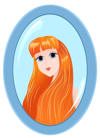The beautiful young woman reflected in a mirror. illustration.