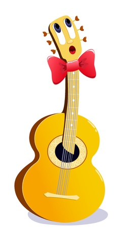 The singing cartoon guitar. Vector illustration. Isolated on white.