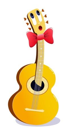La chitarra fumetto canto. Illustrazione vettoriale. Isolato su bianco.