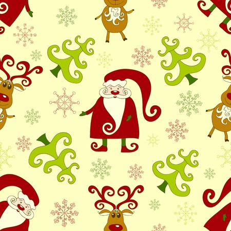 Yellow seamless christmas pattern 2. background. Vector