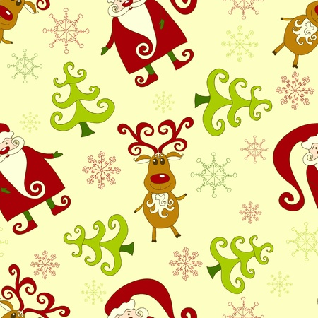 Yellow seamless christmas pattern 1. background. Vector