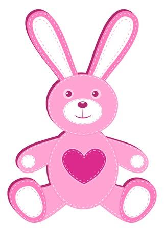 silhouette lapin: Lièvre demande rose. Isolé sur fond blanc. illustration.