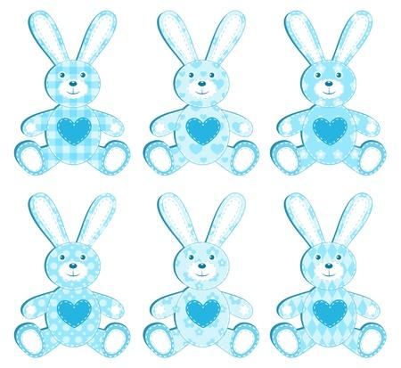 silhouette lapin: Ensemble de six lièvre demande bleu. illustration. Illustration