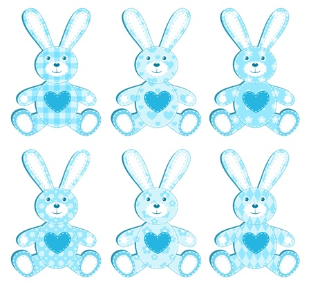 Set of six blue application hare. illustration. Vector