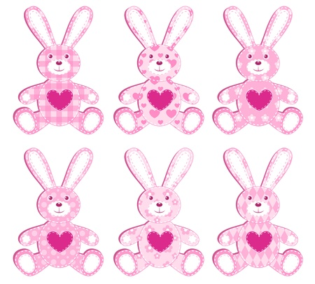 Set of six pink application hare. illustration. Vector
