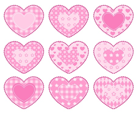 applique: Set of application hearts. Isolated on white.