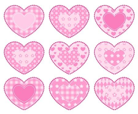 Set van toepassing harten. Geà ¯ soleerd op wit.