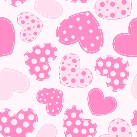 red gingham: Seamless pattern with applique hearts. background. Illustration