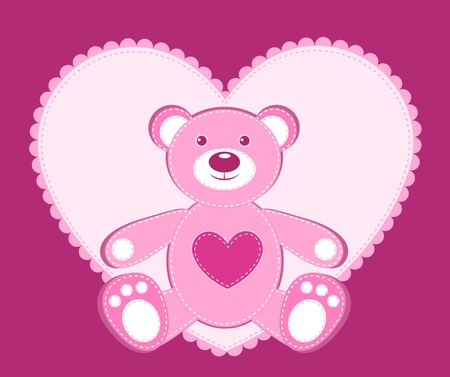 Card with application bear and heart. illustration. Vector