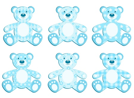 Set of six blue application bear. illustration. Vector