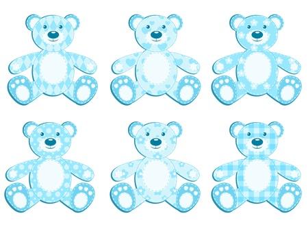Set of six blue application bear. illustration. Vector