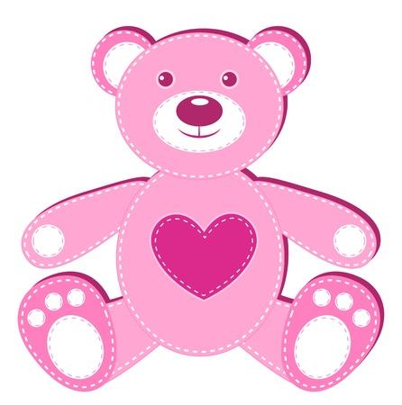 vintage teddy bears: Applicazione orso rosa. Isolato su bianco. illustrazione.