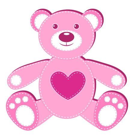 patchwork: Pink application bear. Isolated on white. illustration. Illustration