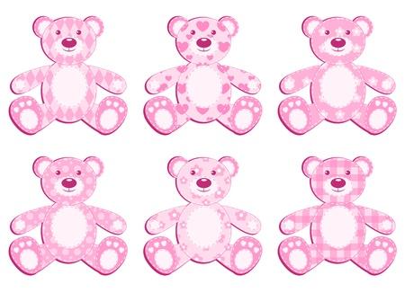 Set of six pink application bear. illustration.