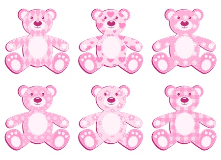baby goods: Set of six pink application bear. illustration.