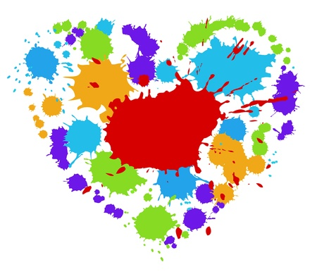 Heart from bright blots. Isolated on white. illustration.