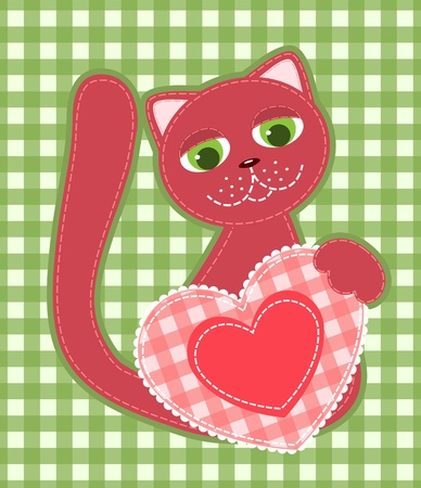 patchwork: Red application cat on the green background. illustration.