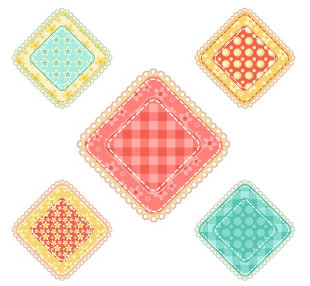 Set of  patchwork five rhombuses. Vector illustration. Vector