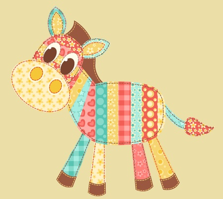 Zebra. Patchwork serie. Ilustración vectorial.
