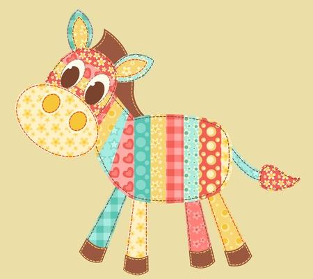 Zebra. Patchwork serie. Vector illustratie. Stock Illustratie
