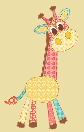 patch: Giraffe. Patchwork series. Vector illustration.
