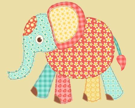 manta de retalhos: Elephant. Patchwork series. Vector illustration.