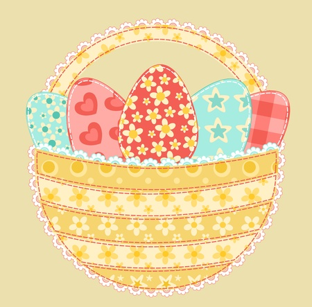 Easter basket  Patchwork series  Vector illustration  Stock Vector - 11913850