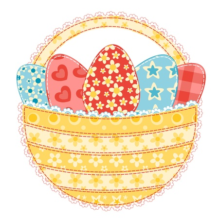 Easter basket isolated on white  Patchwork series  Vector illustration  Vector