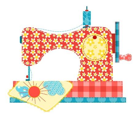 hilo rojo: Máquina de coser aislado en blanco. Patchwork serie. Ilustración del vector. Vectores