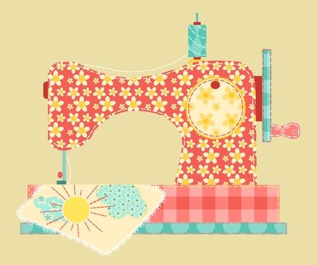 maquina de coser: La m�quina de coser. Vintage Series Patchwork. Ilustraci�n vectorial.