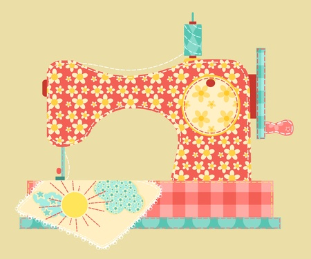 embroidery on fabric: Sewing machine  Patchwork vintage series