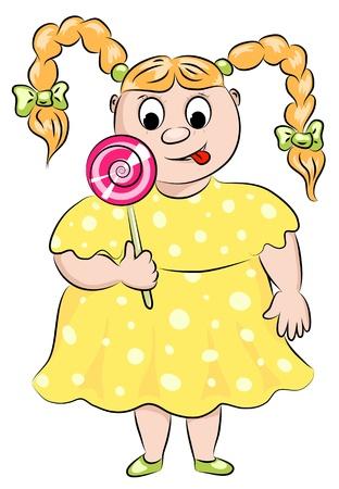 La jeune fille d'épaisseur avec un bonbon de sucre. Illustration vectorielle de bande dessinée.