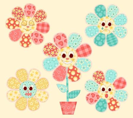 homespun: Flores de aplicaci�n establecido. Patchwork serie. Ilustraci�n del vector.
