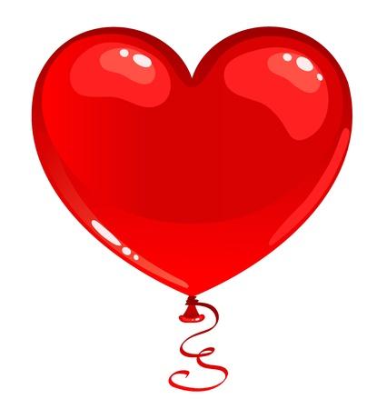 palloncino cuore: Balloon cuore rosso. Isolato su bianco. Illustrazione vettoriale.