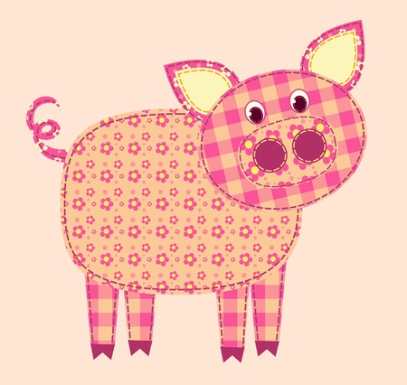 アプリケーションの豚。パッチワーク シリーズ。イラスト。  イラスト・ベクター素材