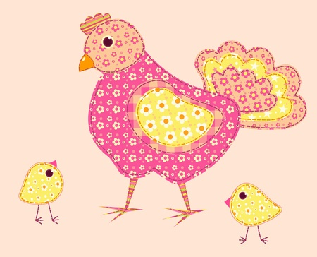 アプリケーションの雌鶏および鶏。パッチワーク シリーズ。イラスト。