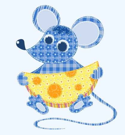 quilt: Application mouse. Patchwork series.  illustration. Illustration