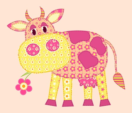 Application cow. Patchwork series. illustration.