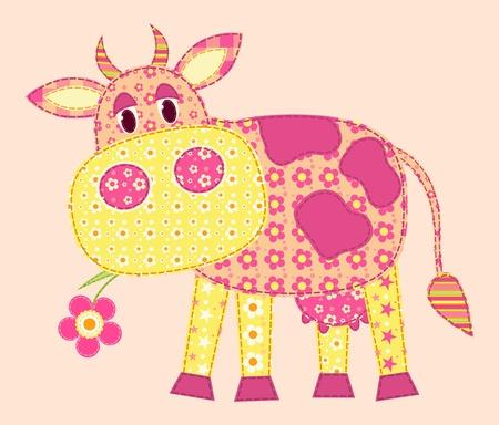 Applicazione mucca. Patchwork serie. illustrazione.