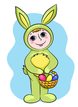 The child in a suit of an easter rabbit. Vector cartoon illustration. Vector