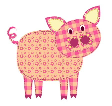 patchwork quilt: Application pig isolated on white. Patchwork series. illustration.