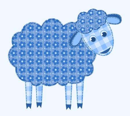 applique flower: Application sheep. Patchwork series.  illustration. Illustration