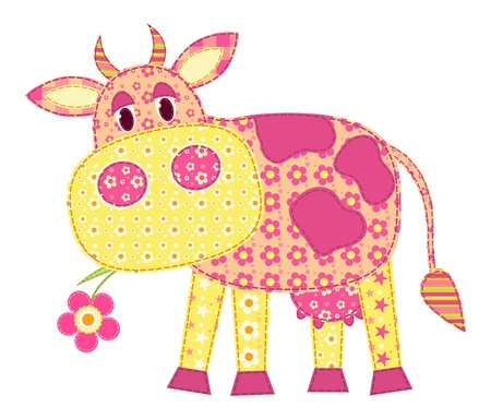daisy pink: Application cow isolated on white. Patchwork series.  illustration.