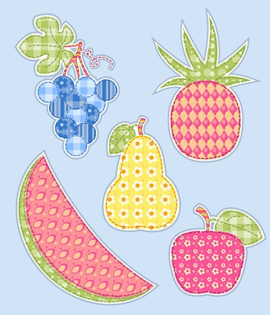 patchwork: Application fruits set. Patchwork series.  illustration.