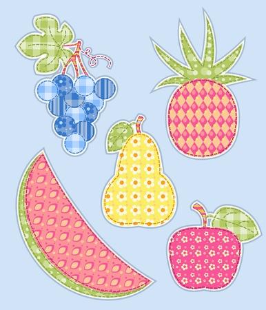 Application fruits set. Patchwork series.  illustration.