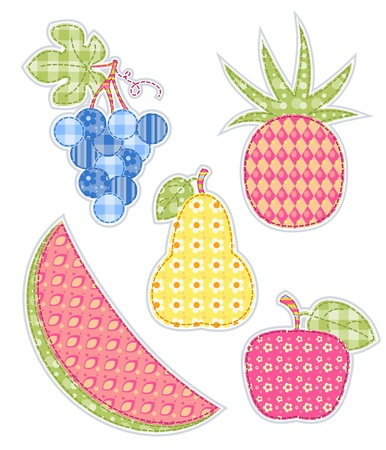 homespun: Frutos de aplicaci�n establecido. Patchwork series.illustration. Aislado en blanco. Vectores