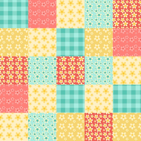 quilt: Seamless patchwork pattern. Vintage vector background.