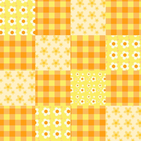 Seamless patchwork orange pattern.  Ilustração